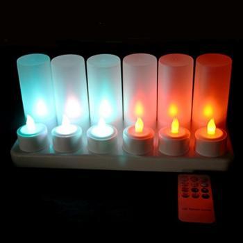 Светодиодные многоцветные led свечи чайные с аккумулятором и пультом ДУ (набор 12 шт.) R5-0054