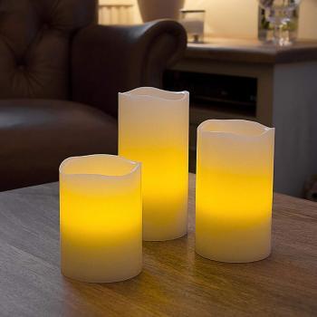 Светодиодные led свечи слоновая кость (набор 3 шт.) R5-0063